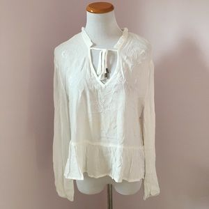 Lumiere white long sleeve blouse size S